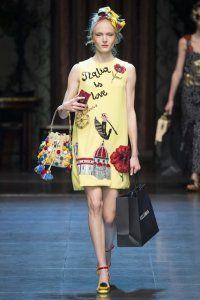Коротке плаття без рукавів жовтого кольору з аплікацією, прямий моделі від Dolce & amp; Gabbana.