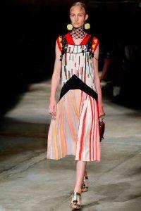 Літнє плаття без рукавів з принтом, розкльошені фасону, довжиною нижче колін від Prada.