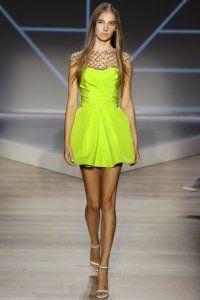 Вечірня сукня без рукавів салатового кольору, з сітчастою вставкою, приталенной моделі від Pamella Roland.