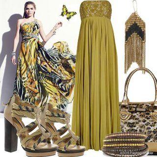 Вечірня сукня без рукавів оливкового відтінку, із завищеною талією, довжиною в підлогу.